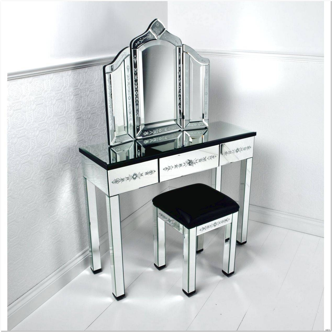 Black Dressing Table With Mirror And Stool Design Ideas - Interior inside Black Dressing Mirrors (Image 11 of 25)