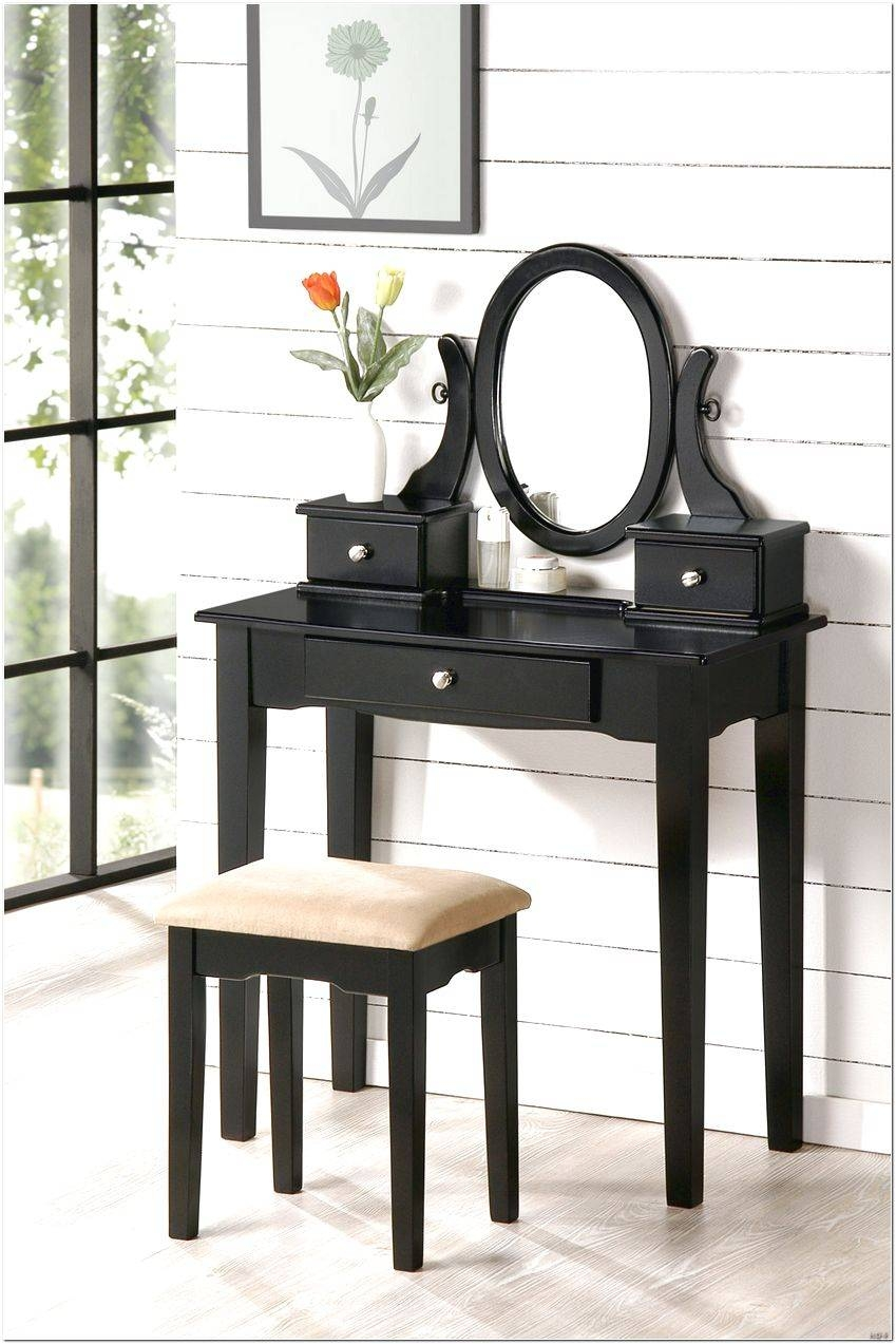 Black Dressing Table With Mirror And Stool Design Ideas – Interior With Black Dressing Mirrors (View 12 of 25)