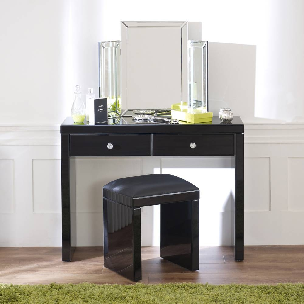 Black Dressing Table With Mirror | Creative Vanity Decoration pertaining to Black Dressing Mirrors (Image 15 of 25)