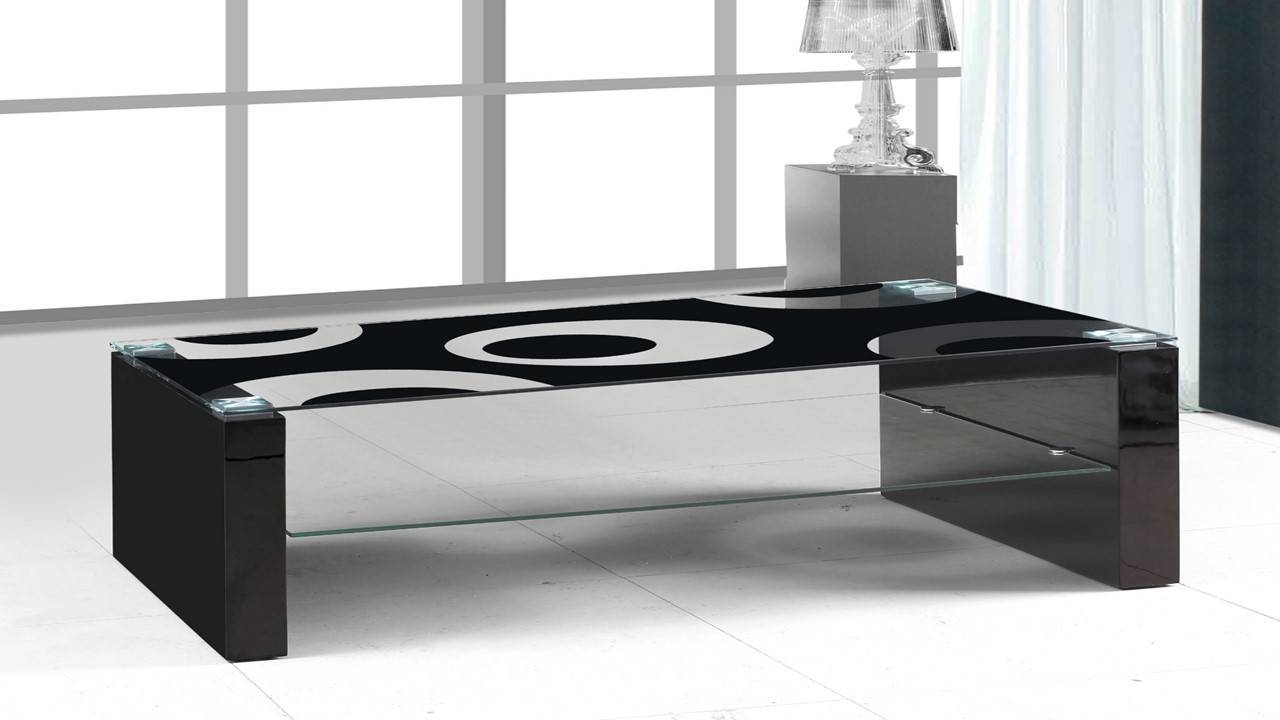 Black Glass Black High Gloss Coffee Table - Homegenies within White Gloss Coffee Tables (Image 4 of 30)
