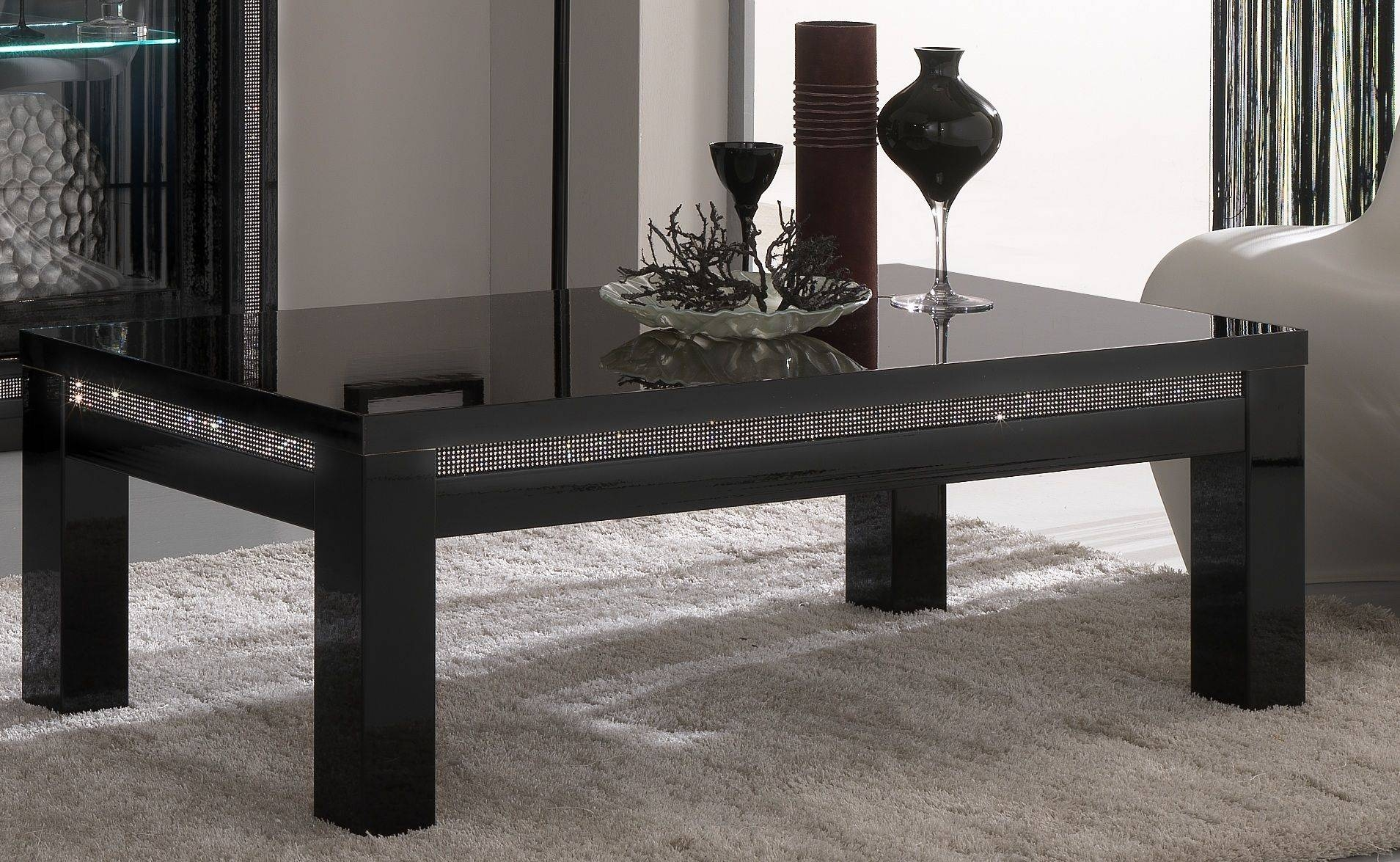 Black Glass Coffee Table | Coffee Table Decoration inside Dark Glass Coffee Tables (Image 6 of 30)