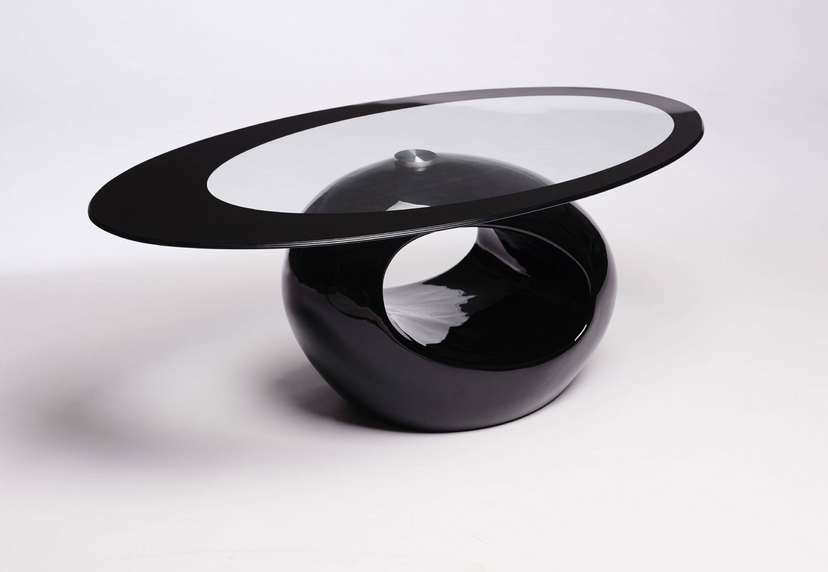 Black Glass Coffee Table Contemporary Modern Retro | Coffee Tables with regard to Oval Black Glass Coffee Tables (Image 4 of 30)