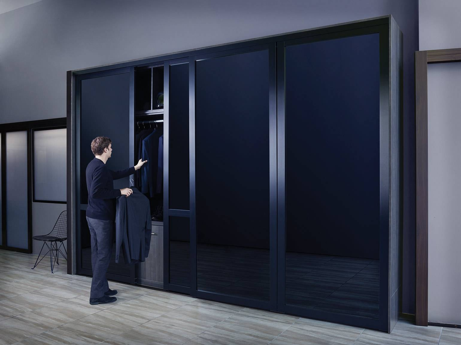 Black Glass Sliding Closet Doors within Dark Wood Wardrobe Sliding Doors (Image 8 of 30)