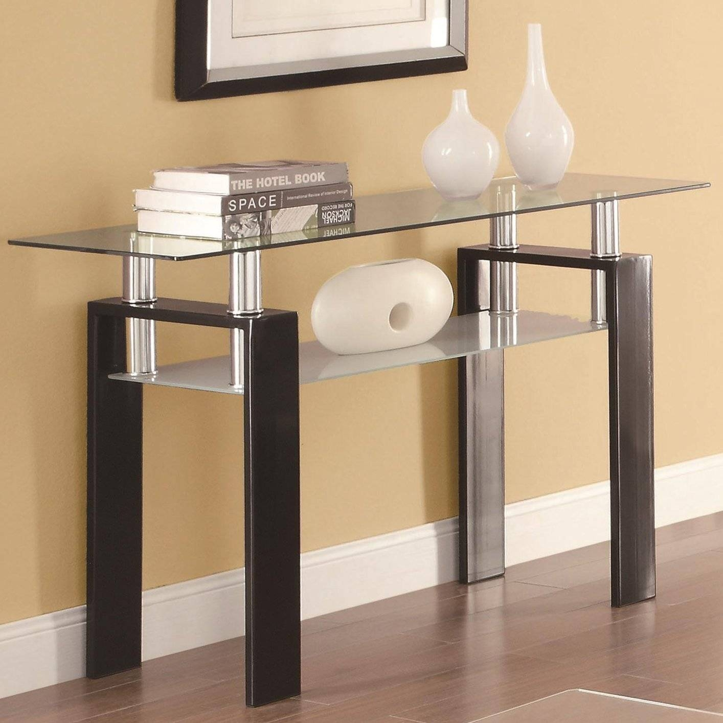 Black Glass Sofa Table - Steal-A-Sofa Furniture Outlet Los Angeles Ca inside Metal Glass Sofa Tables (Image 3 of 30)