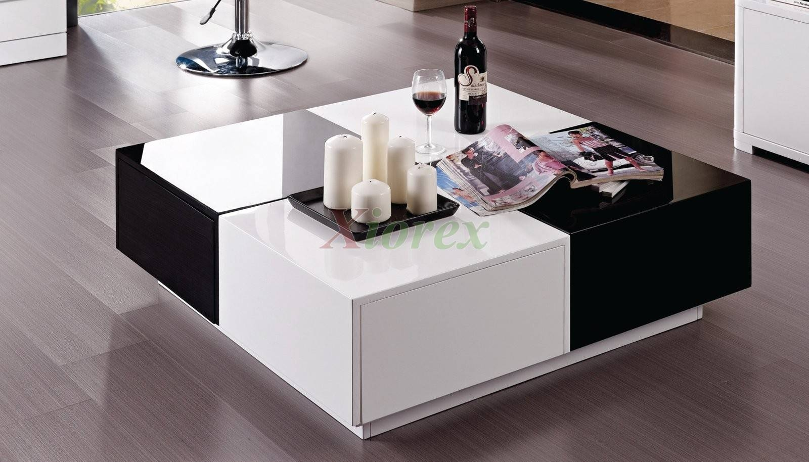 Black Gloss Coffee Table With Drawers | Coffee Table Decoration within Coffee Tables White High Gloss (Image 2 of 30)