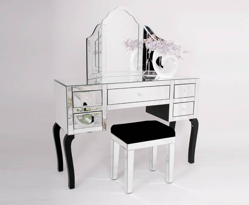 Black Gloss Dressing Table With Mirror | Creative Vanity Decoration for Decorative Dressing Table Mirrors (Image 6 of 25)