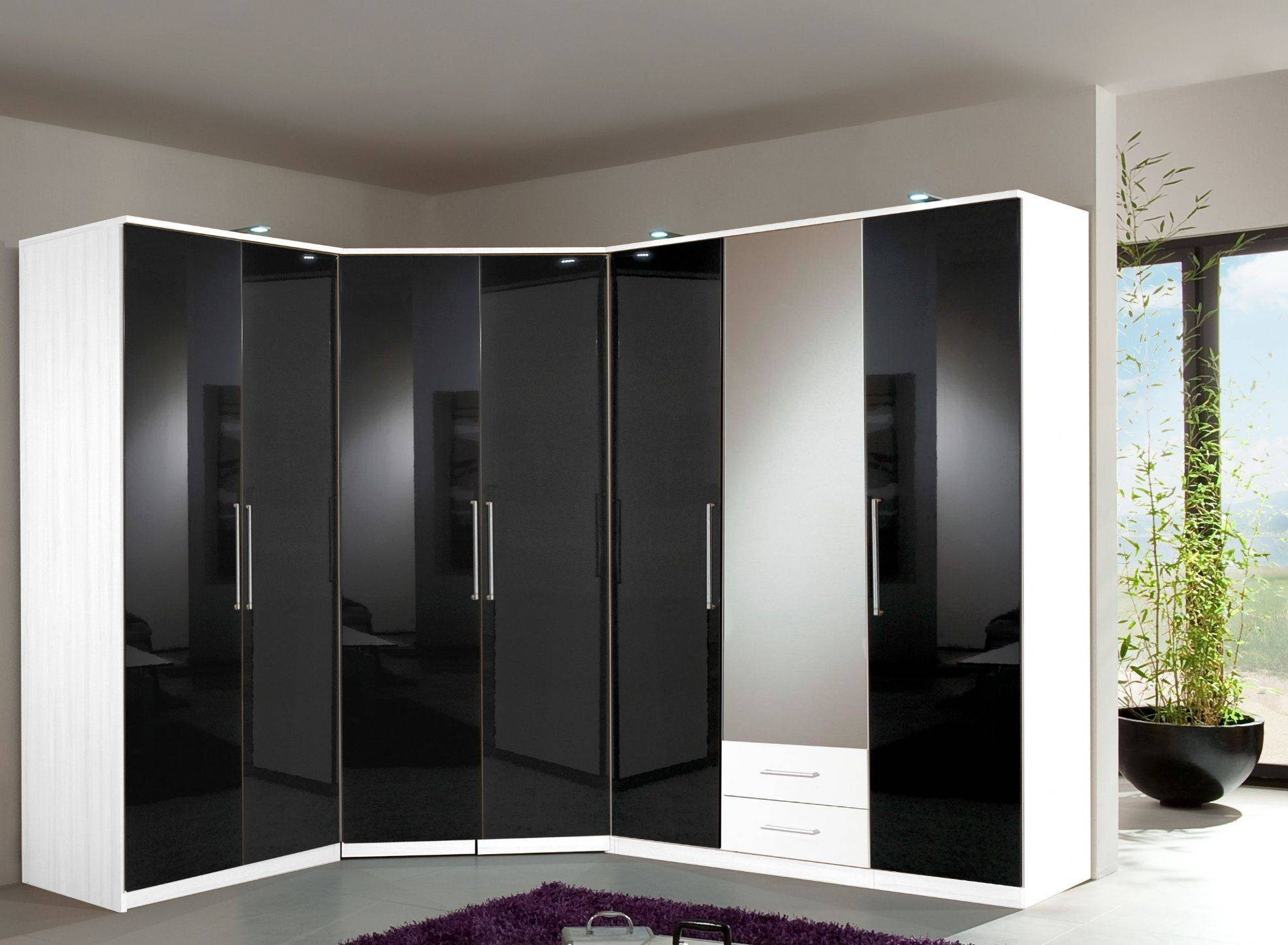Black Gloss & White 3 Door 2 Drw Centre Mirror Wardrobe-17 pertaining to Black Wardrobes With Mirror (Image 3 of 15)