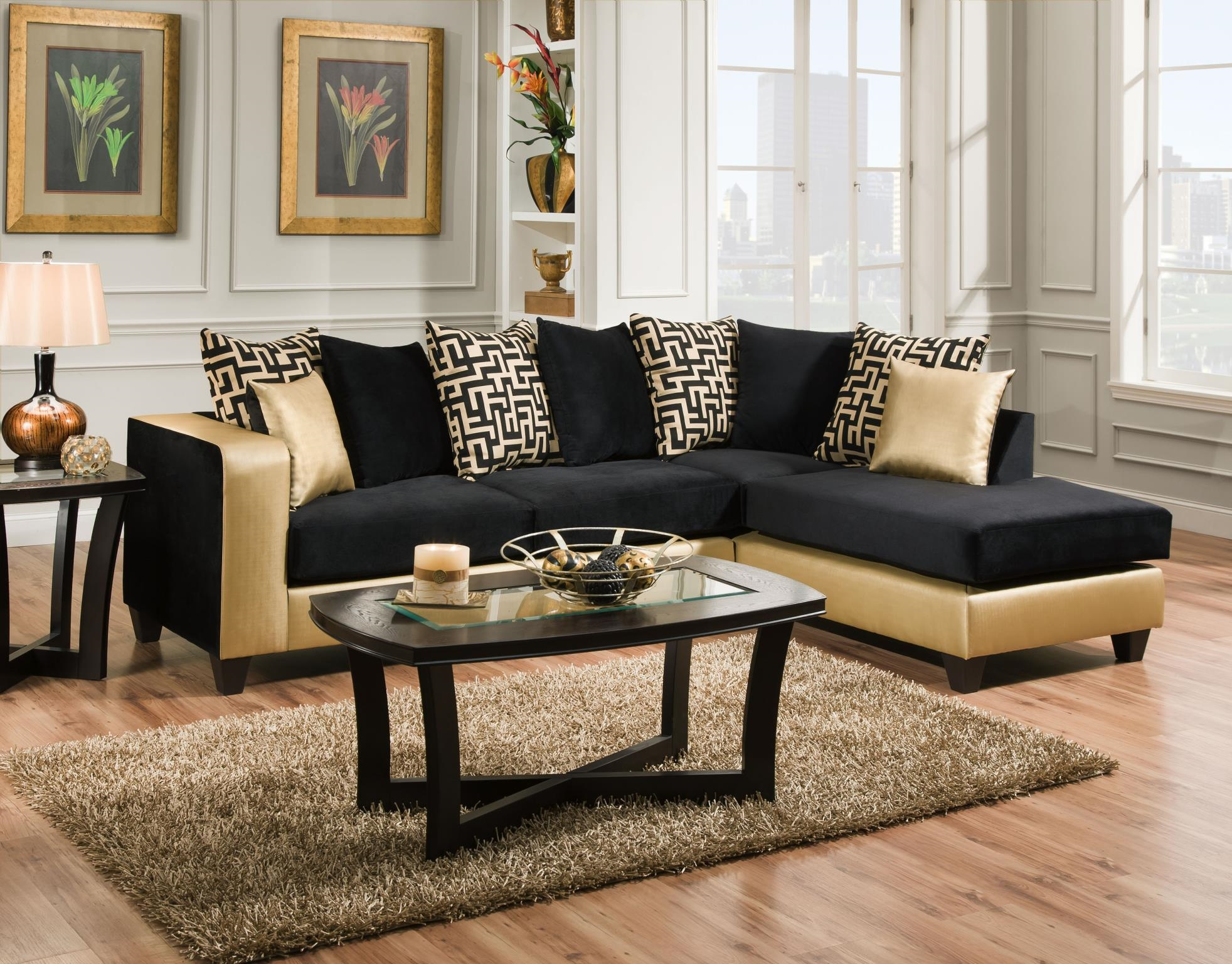 Black Gold Loose Pillow Sectional throughout Gold Sectional Sofa (Image 4 of 25)