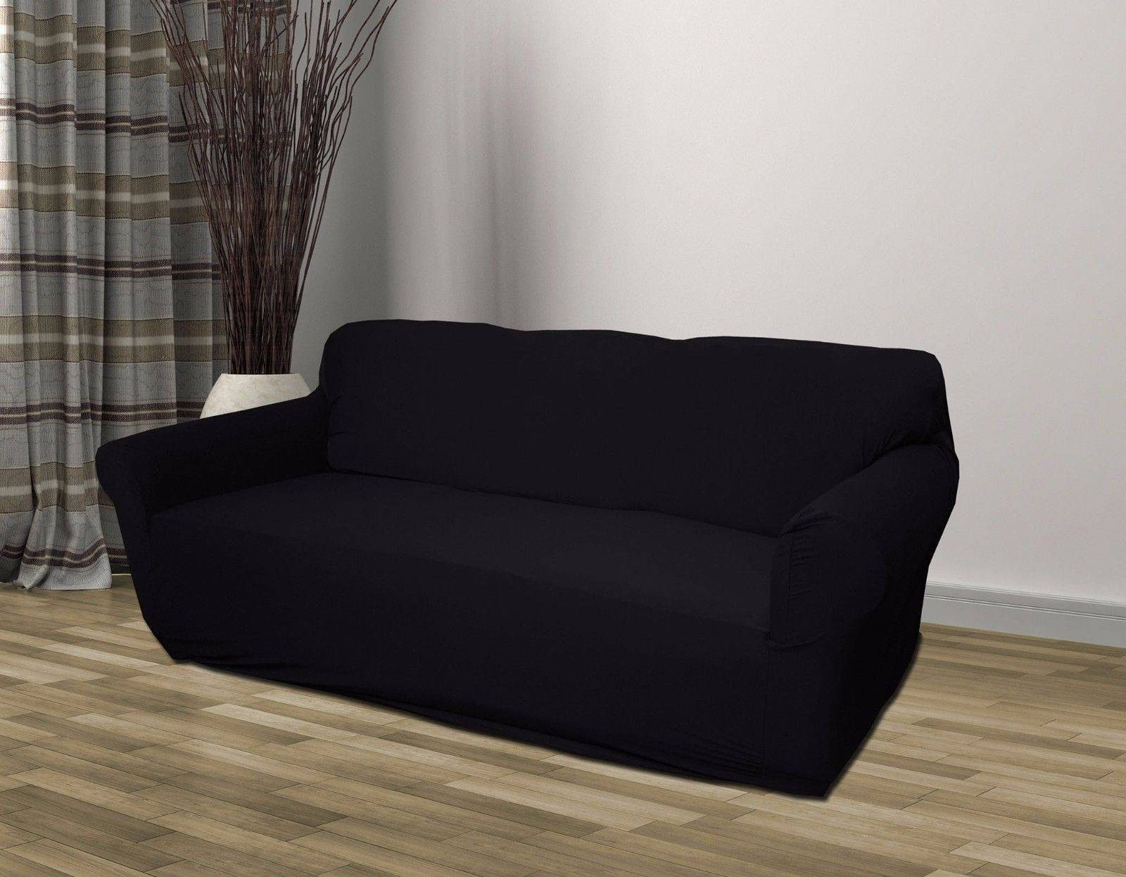 Black Jersey Sofa Stretch Slipcover, Couch Cover, Chair Loveseat intended for Black Slipcovers For Sofas (Image 2 of 30)