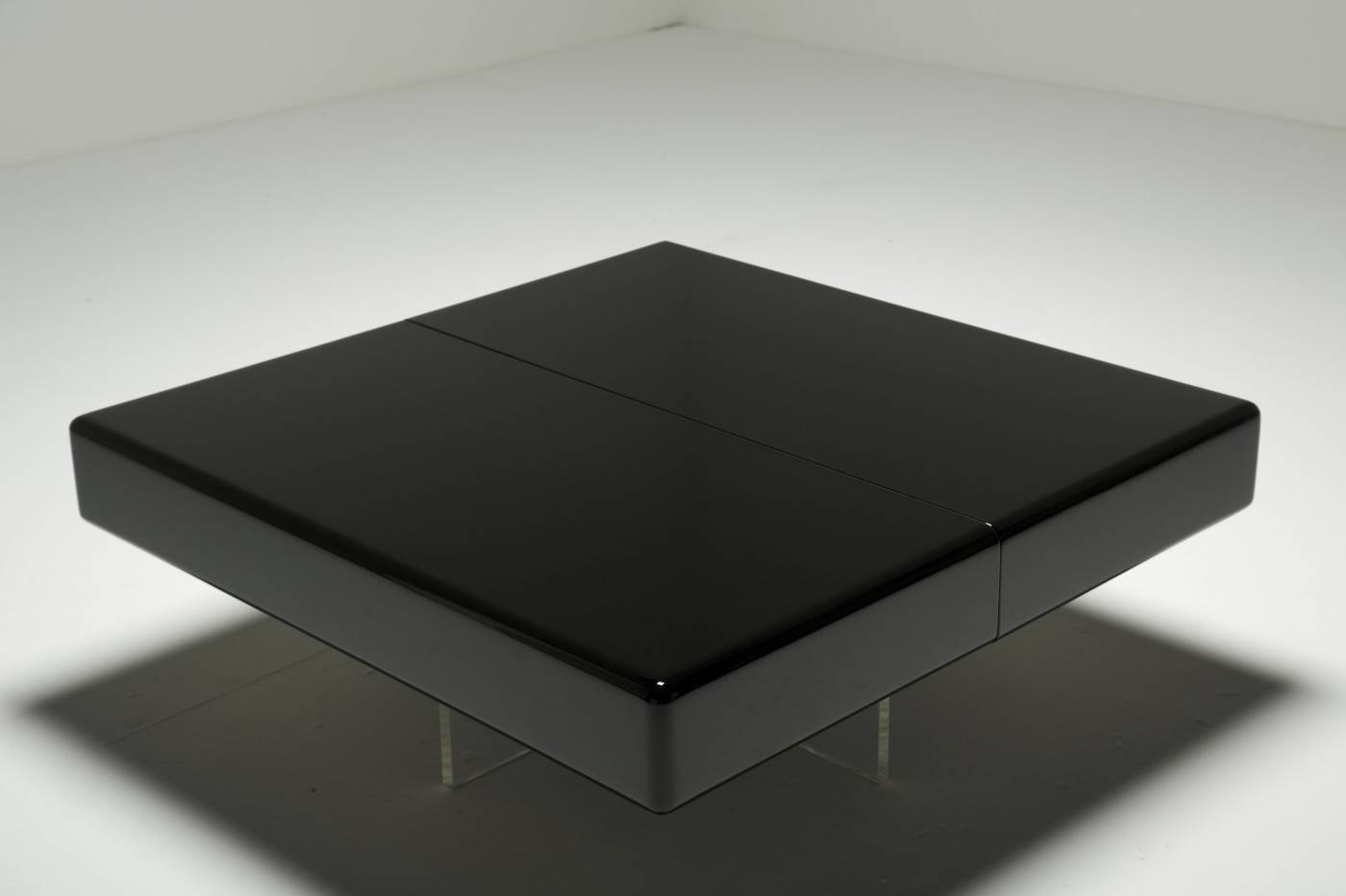 Black Lacquer Coffee Table With Perspex Base For Sale At Pamono inside Lacquer Coffee Tables (Image 5 of 30)