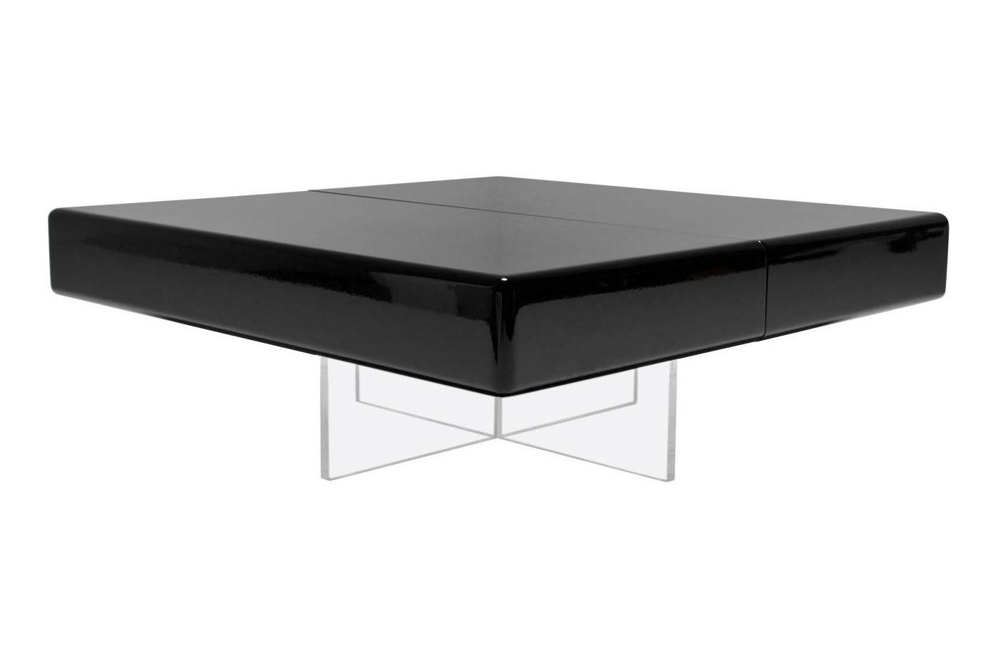 Black Lacquer Coffee Table With Perspex Base For Sale At Pamono pertaining to Lacquer Coffee Tables (Image 6 of 30)