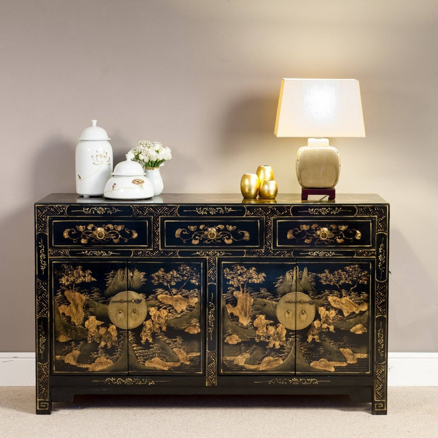 Black Lacquered Sideboard | Chinoiserie Sideboard | Orchid pertaining to Chinoiserie Sideboards (Image 8 of 30)