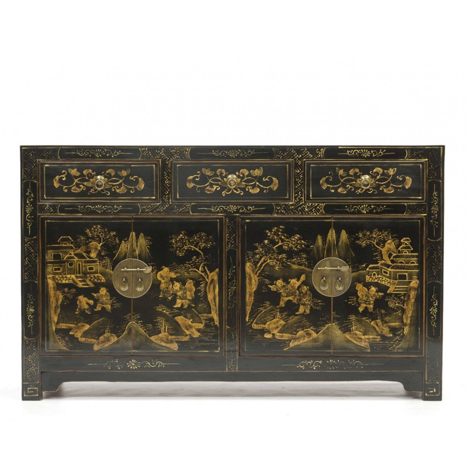 Black Lacquered Sideboard | Chinoiserie Sideboard | Orchid with regard to Chinoiserie Sideboards (Image 9 of 30)