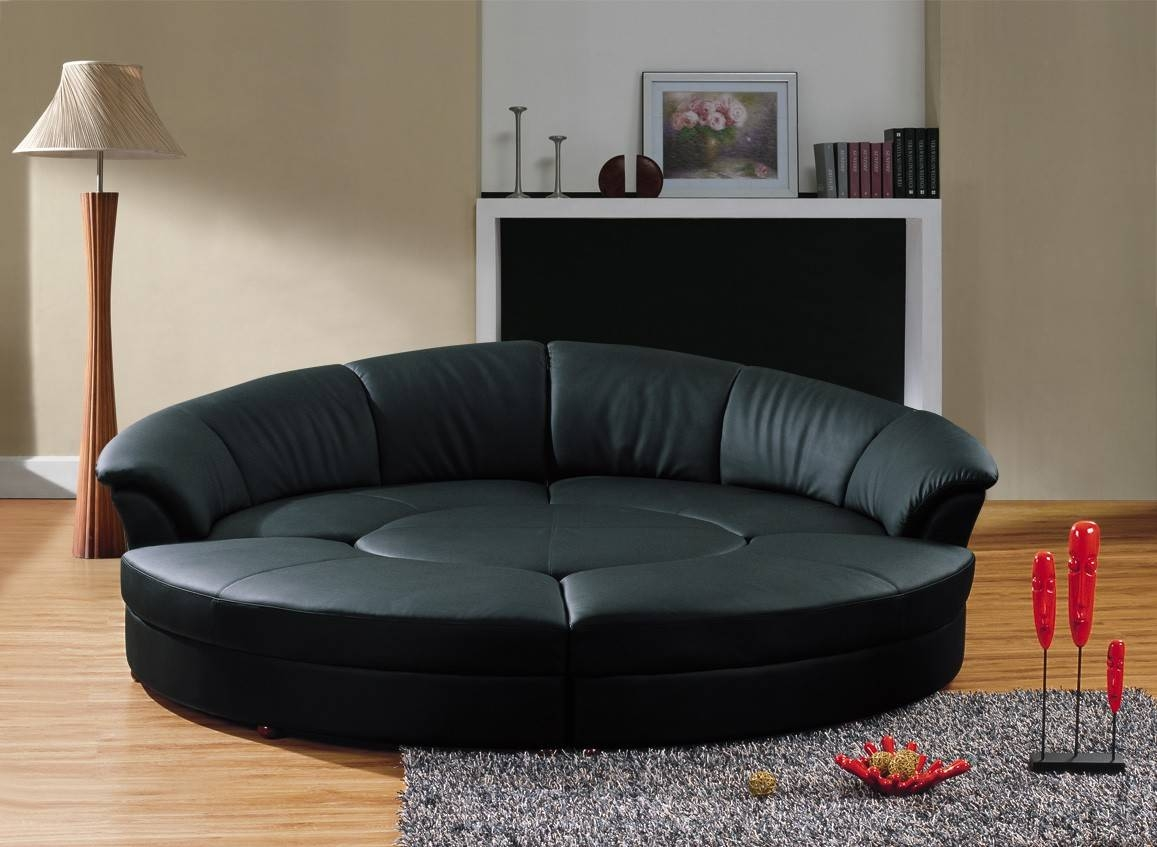 Black Leather Circular Sectional Sofa- Circle throughout Circle Sofa Chairs (Image 4 of 30)