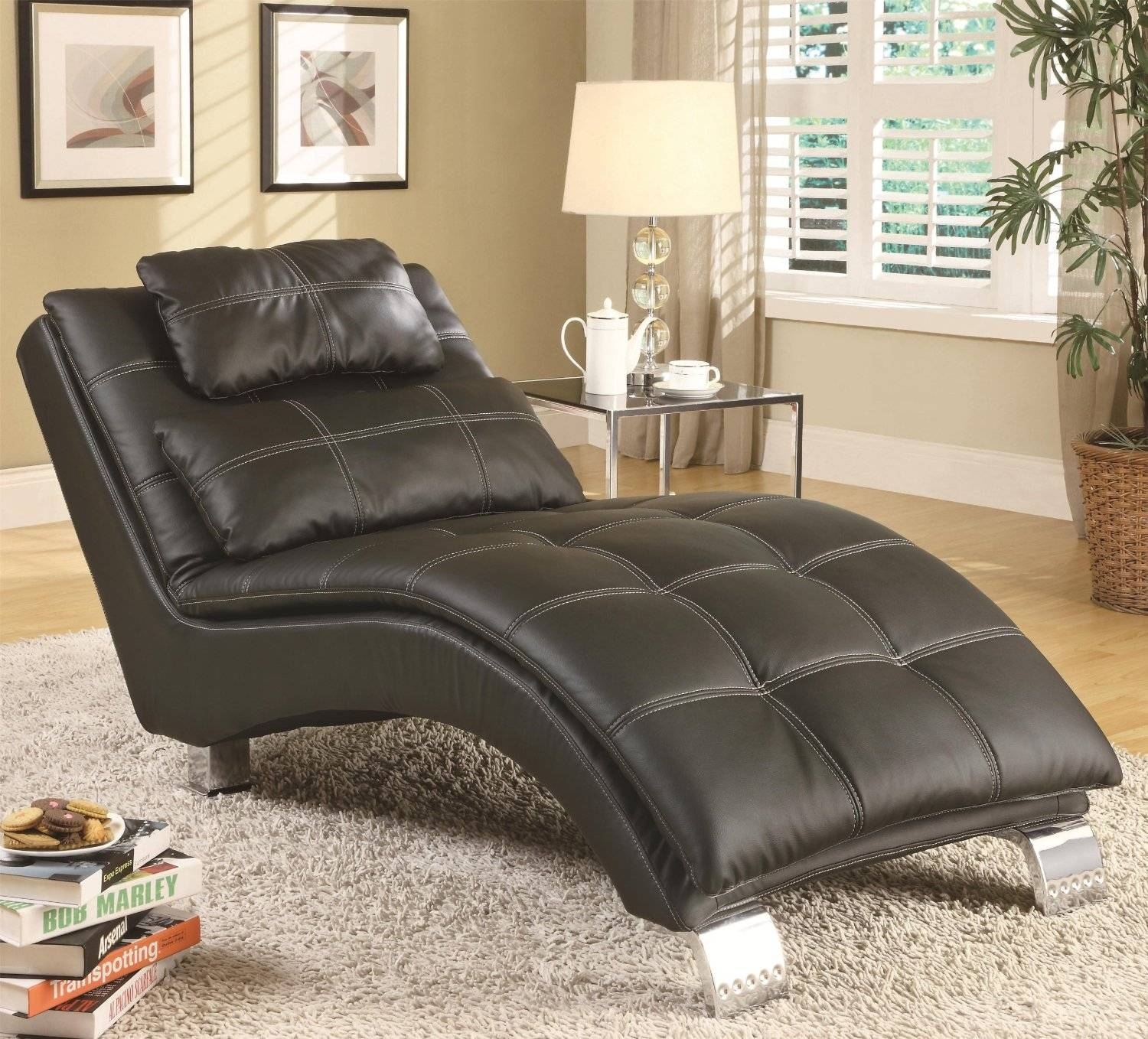 Black Leather Couch Chaise Lounge Living Room Lounges Fair To Top inside Chaise Sofa Chairs (Image 3 of 15)