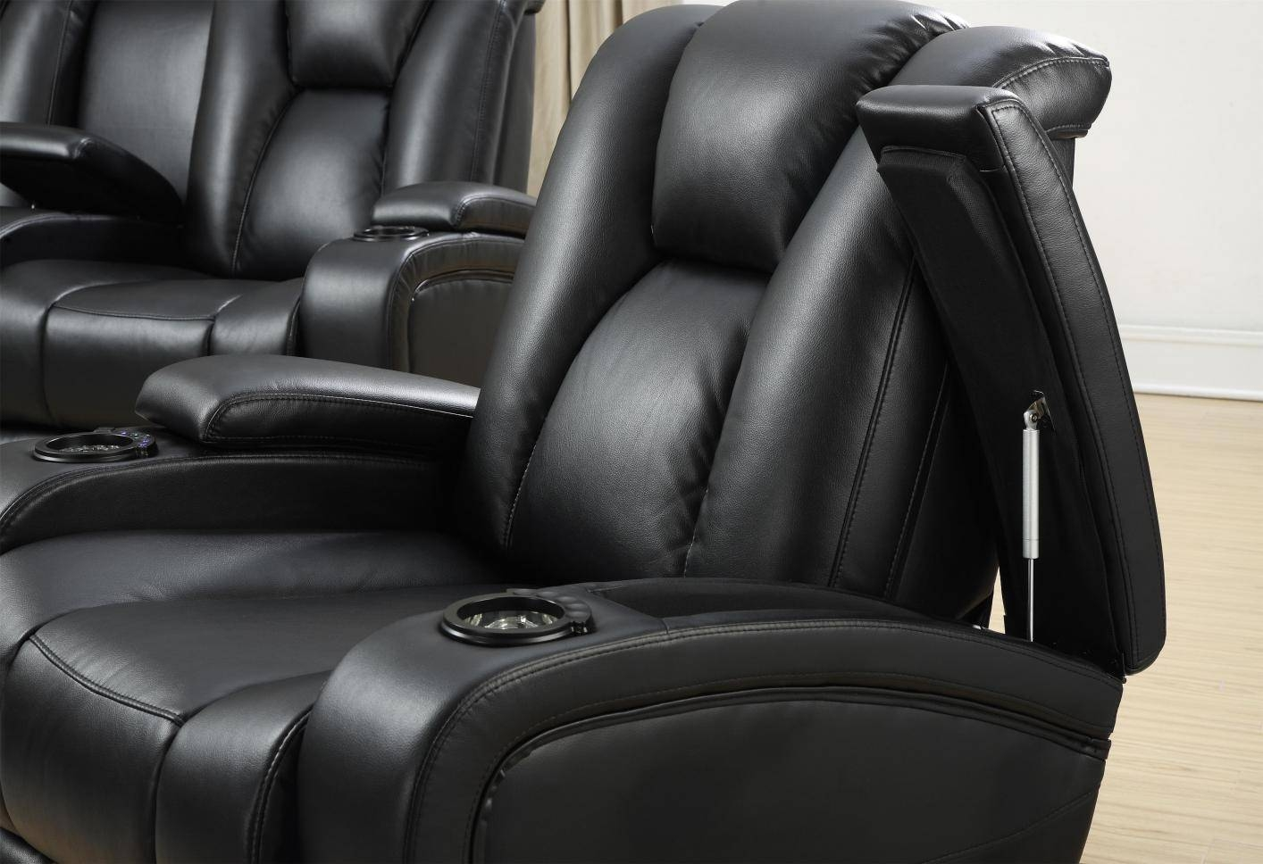 Black Leather Power Reclining Sofa - Steal-A-Sofa Furniture Outlet within Sofa Chair Recliner (Image 3 of 30)