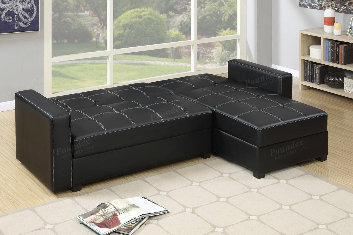 Black Leather Sectional Sofa Bed - Steal-A-Sofa Furniture Outlet pertaining to Sectional Sofa Beds (Image 2 of 30)