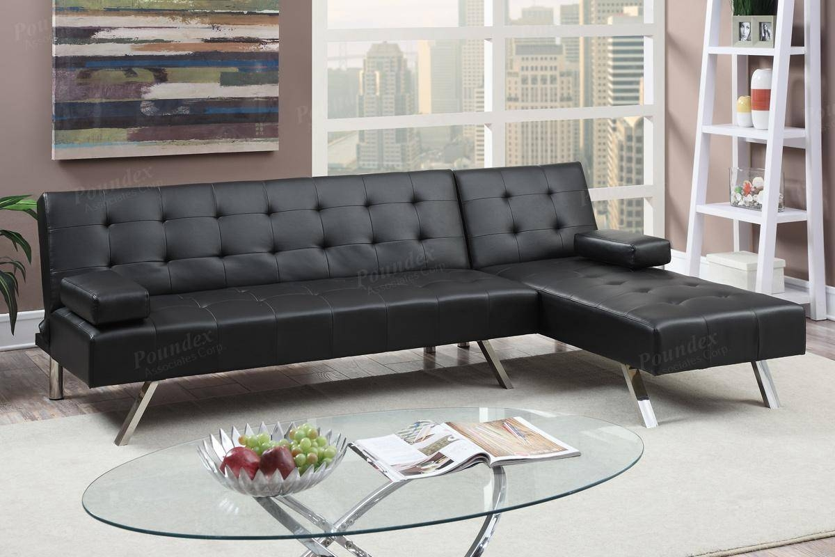 Black Leather Sectional Sofa Bed - Steal-A-Sofa Furniture Outlet throughout Sectional Sofas Los Angeles (Image 3 of 25)