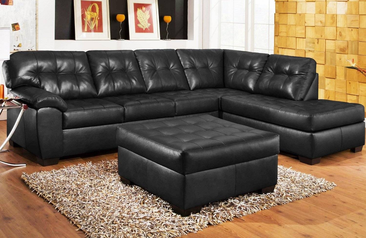 Black Leather Sectional Sofa | Roselawnlutheran throughout Cheap Black Sofas (Image 2 of 30)