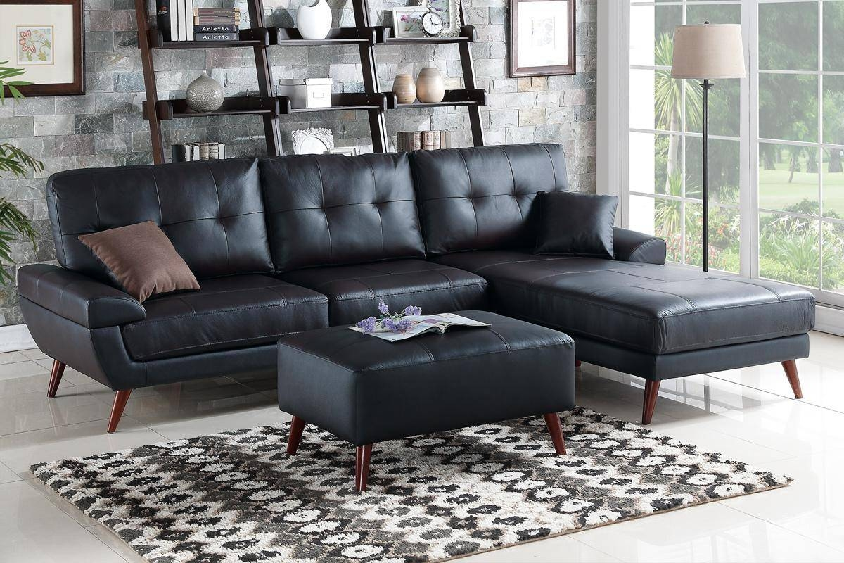 Black Leather Sectional Sofa - Steal-A-Sofa Furniture Outlet Los within Sectional Sofas Los Angeles (Image 2 of 25)