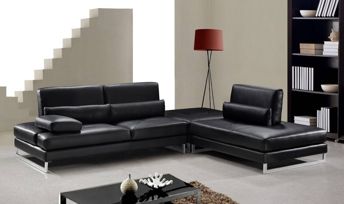 Black Leather Sofa Chaise | Tehranmix Decoration throughout Black Leather Sectional Sleeper Sofas (Image 4 of 30)
