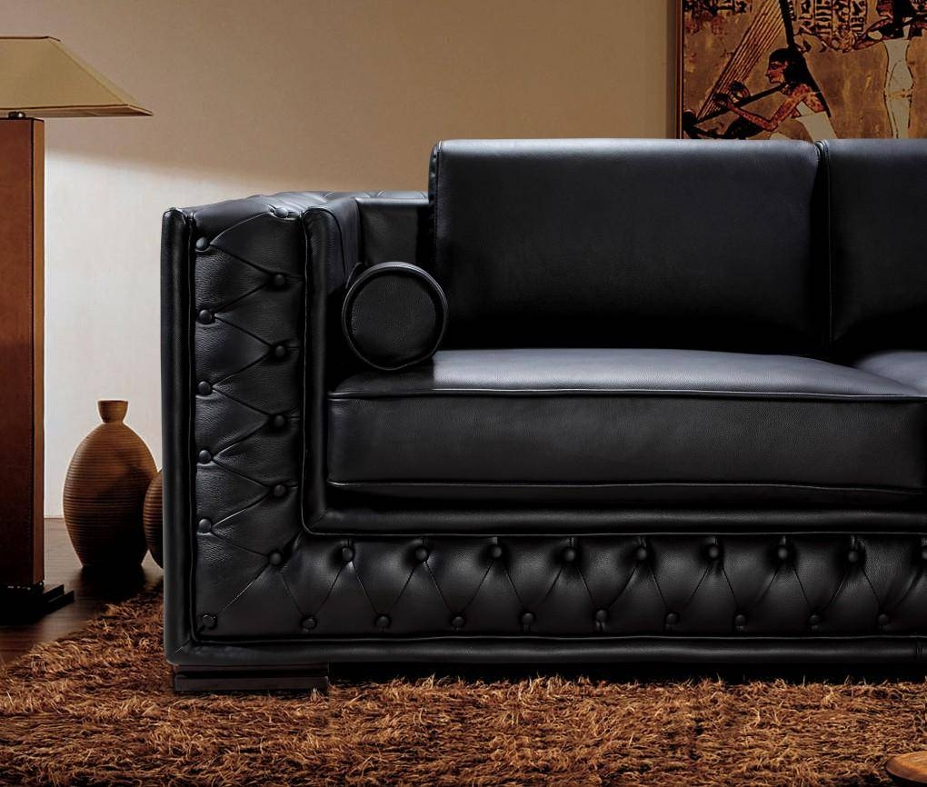 Black Leather Sofa Set He-707 | Leather Sofas inside Contemporary Black Leather Sofas (Image 6 of 30)