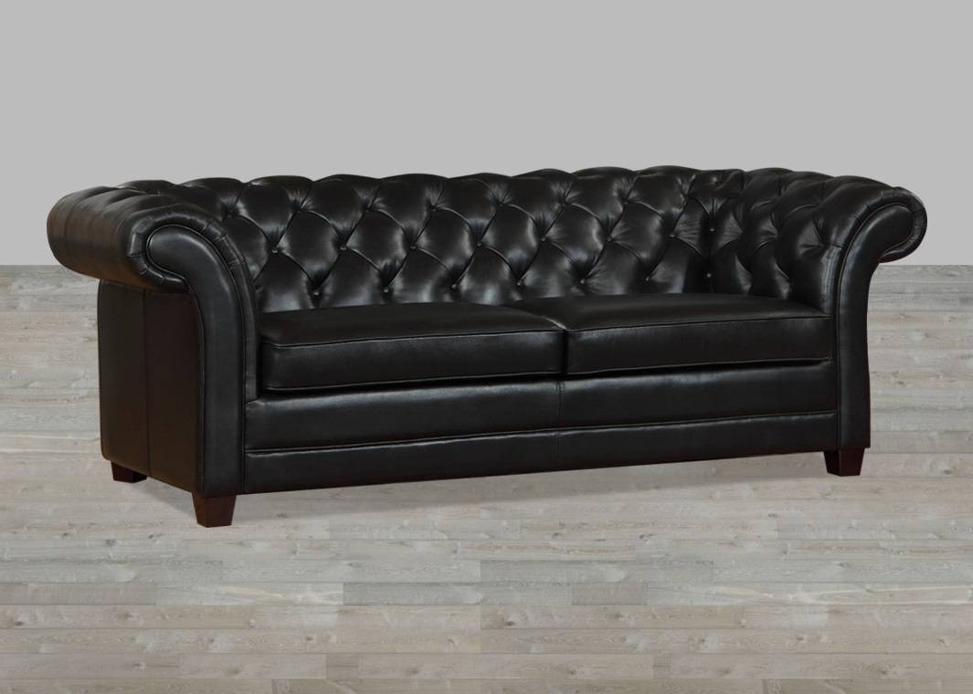Black Leather Victoria Collection Split Sofa for Victorian Leather Sofas (Image 2 of 30)