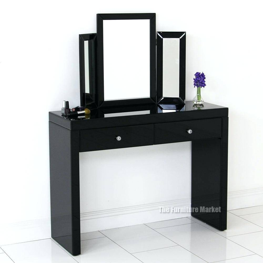 Black Makeup Vanity Tableblack Table With Mirror Dressing Drawers with regard to Black Dressing Mirrors (Image 20 of 25)