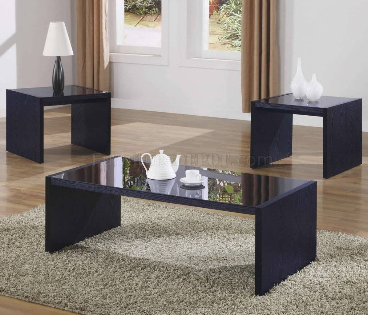 Black Modern 3Pc Coffee Table Set W/black Glass Tops inside Dark Coffee Tables (Image 3 of 30)