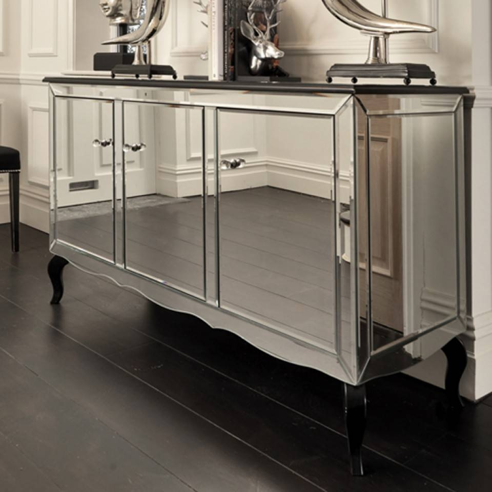 Black Orchid | Mirrored Sideboard | Black Gloss Cabinet intended for Black And Silver Sideboards (Image 5 of 30)