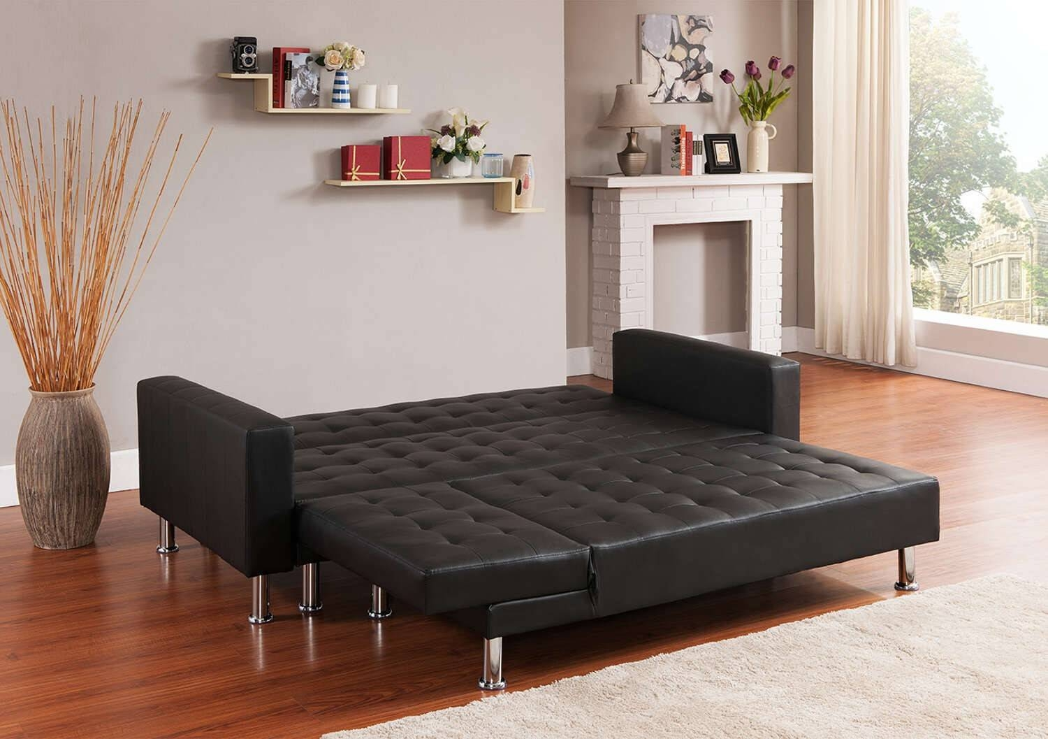 Black Orlando 3/4 Seats Leather Corner Sofa Bed | Furniturebox inside Leather Corner Sofa Bed (Image 3 of 30)