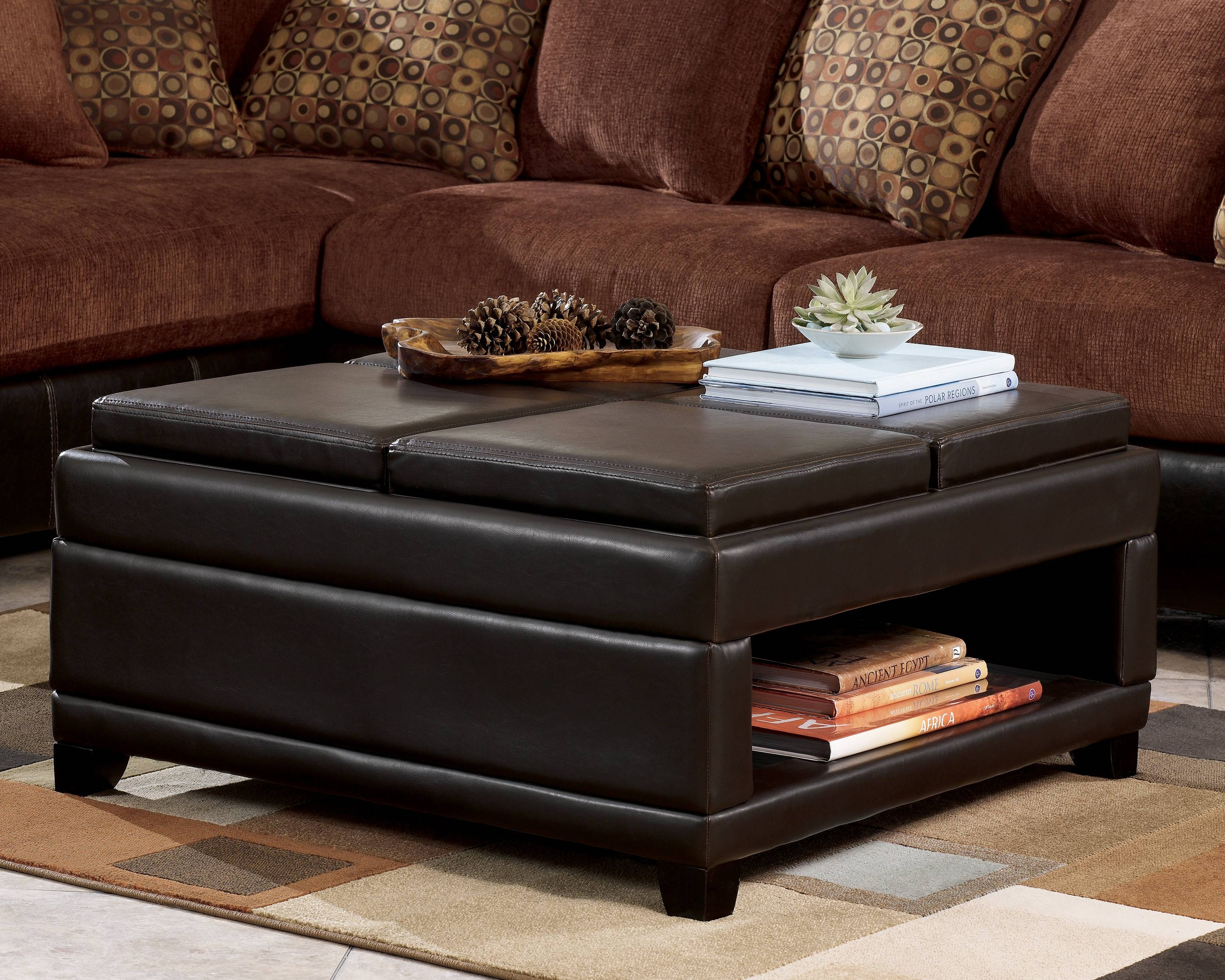 Black Ottoman Coffee Table With Storage | Coffee Tables Decoration inside Square Coffee Tables With Storage (Image 1 of 30)