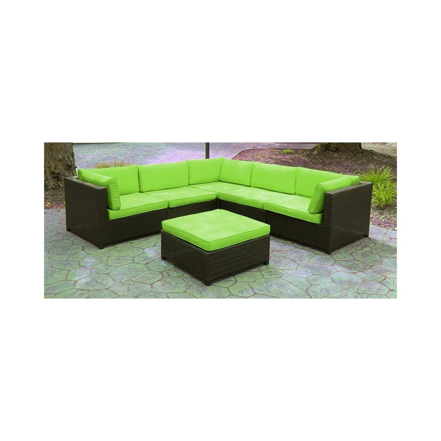 Black Resin Wicker Outdoor Furniture Sectional Sofa Set - Lime with Green Sectional Sofa (Image 11 of 30)