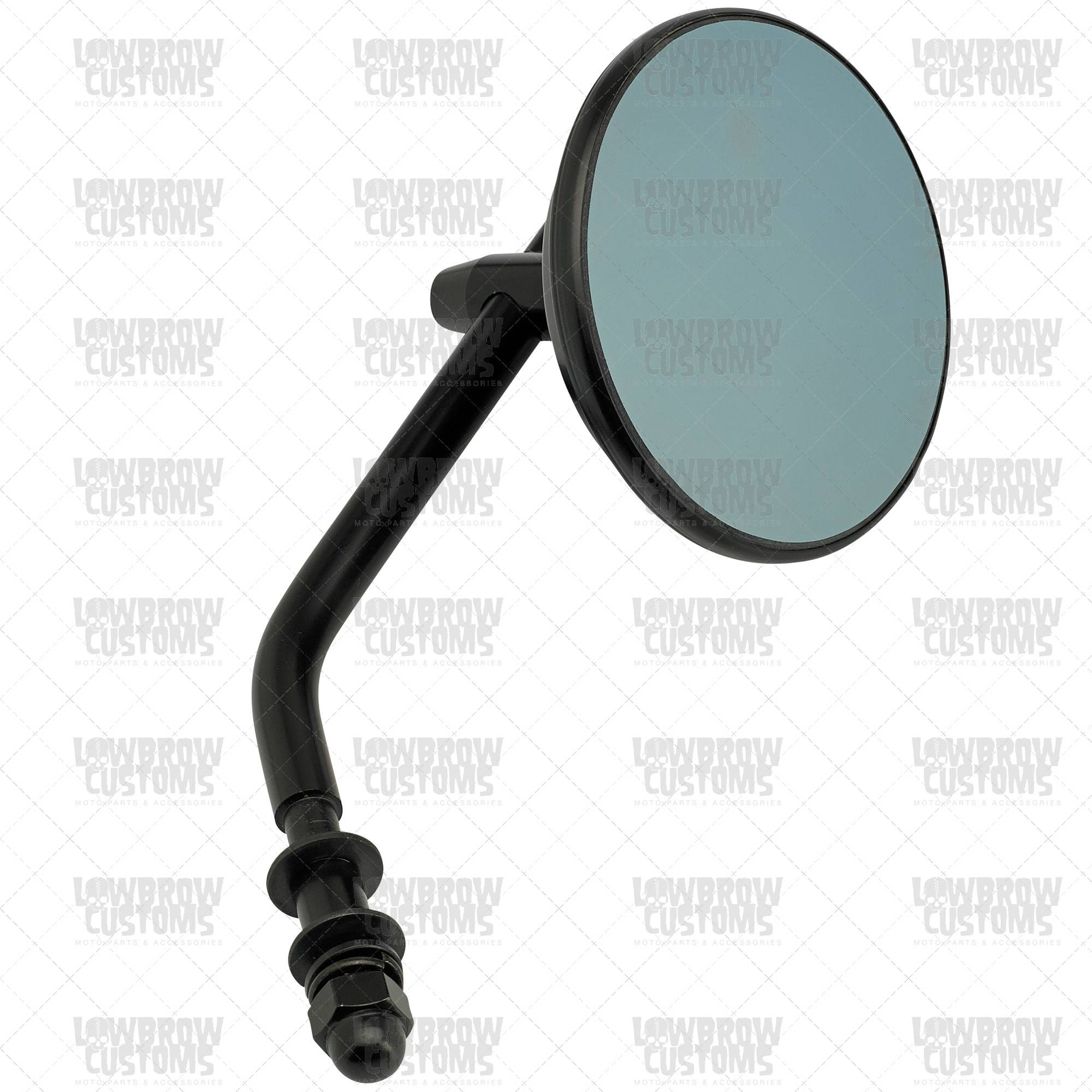 "Black Retro Blue Glass 3"" Round Mirror Pertaining To Black Round Mirrors (View 6 of 25)"
