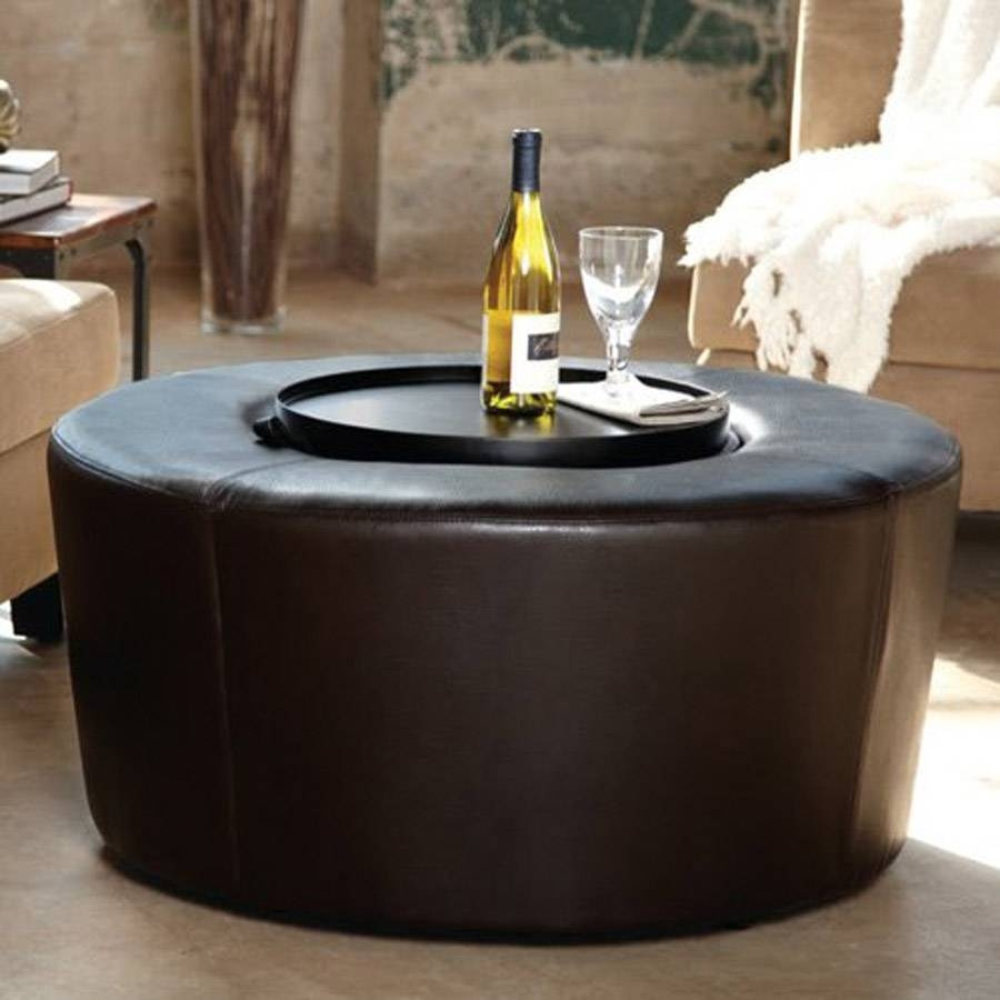 Black Round Ottoman Coffee Table for Black Circle Coffee Tables (Image 5 of 30)
