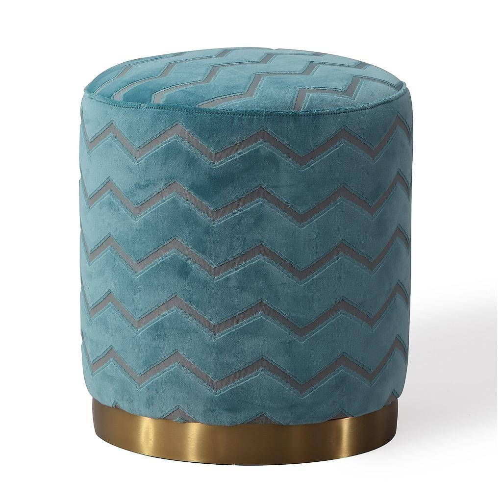 Black Round Velvet Ottoman Silver Metal Base throughout Velvet Footstool (Image 11 of 30)