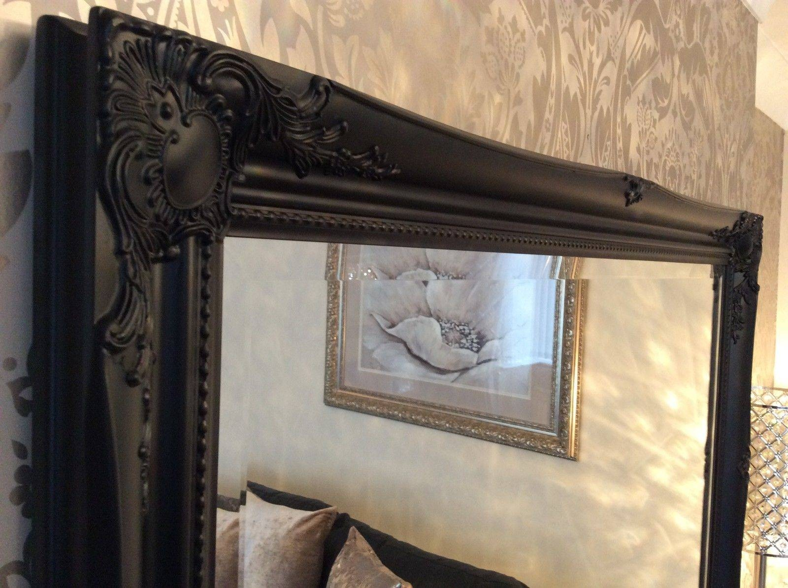 Black Shabby Chic Framed Ornate Overmantle Wall Mirror – Range Of Throughout Black Shabby Chic Mirrors (View 2 of 25)