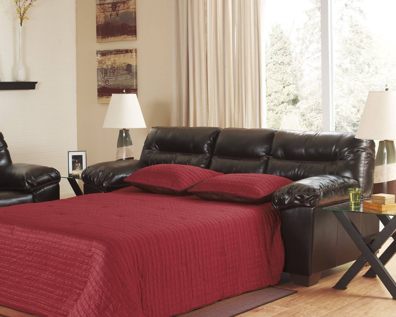 Black Sleeper Sofa.diamond Black Faux Leather Sleeper Sofa with regard to Red Sleeper Sofa (Image 3 of 30)