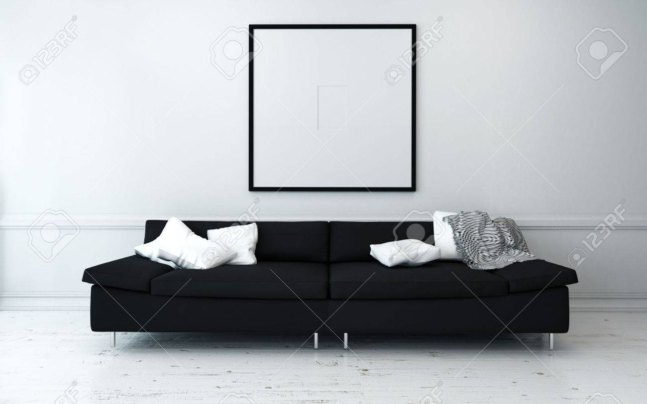 Black Sofa With White Cushions In Sparsely Decorated Modern Living inside White And Black Sofas (Image 13 of 30)