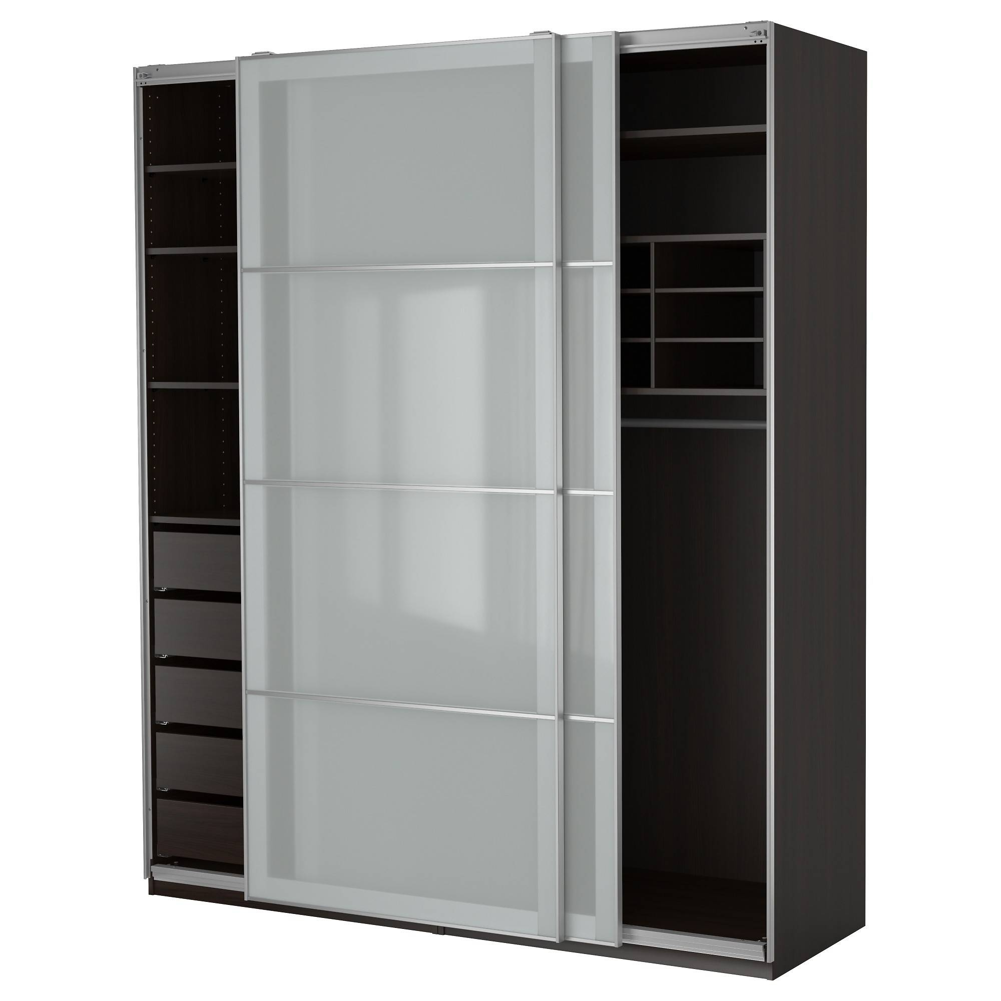 Black Stained Solid Wood Wardrobe Having Open Shelf And Drawers regarding Wardrobe With Shelves and Drawers (Image 8 of 30)
