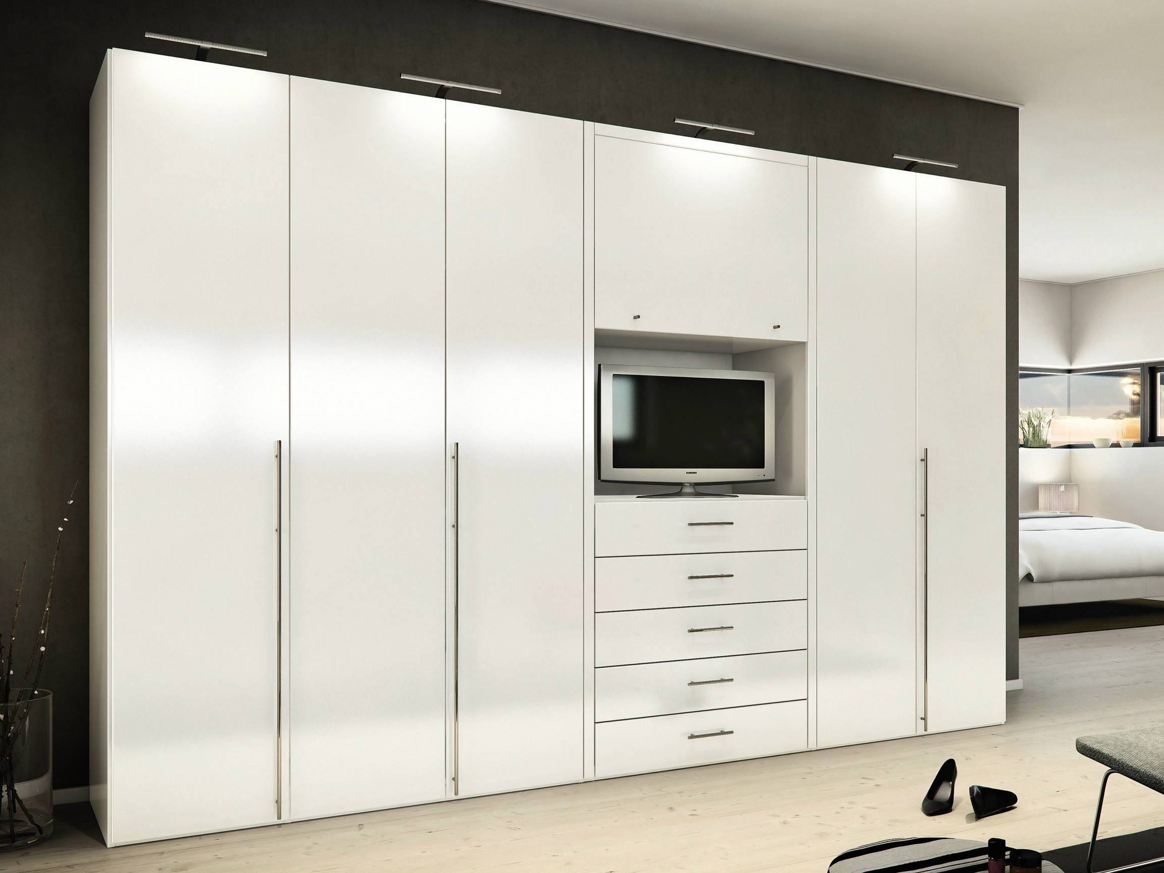 Black Stained Solid Wood Wardrobe Having Open Shelf And Drawers Throughout Black Wood Wardrobes (View 6 of 15)
