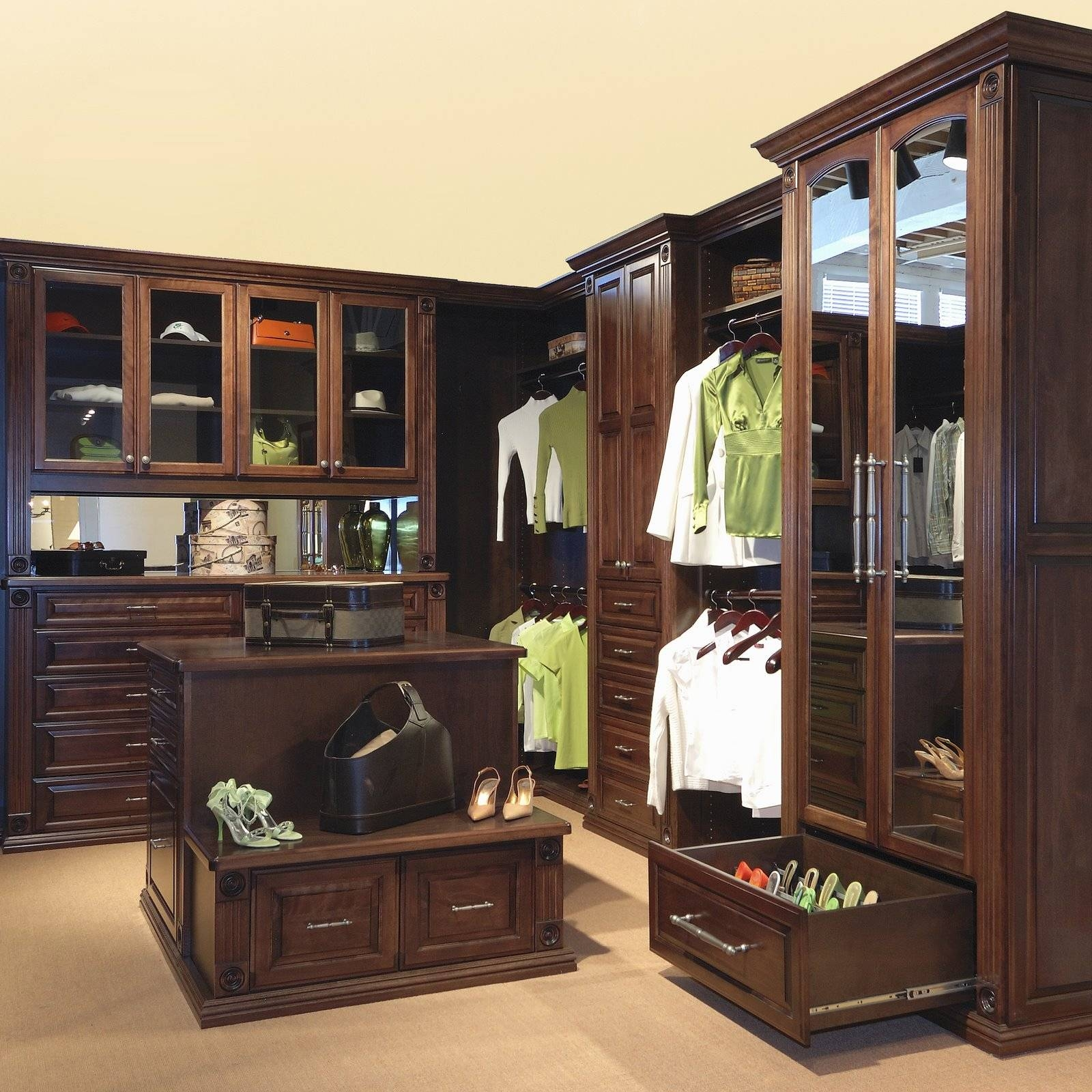 Black Stained Solid Wood Wardrobe Having Open Shelf And Drawers throughout Solid Dark Wood Wardrobes (Image 6 of 30)