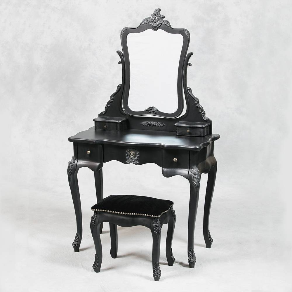 Black Vanity Table With Mirror | Creative Vanity Decoration For Black Dressing Mirrors (View 21 of 25)