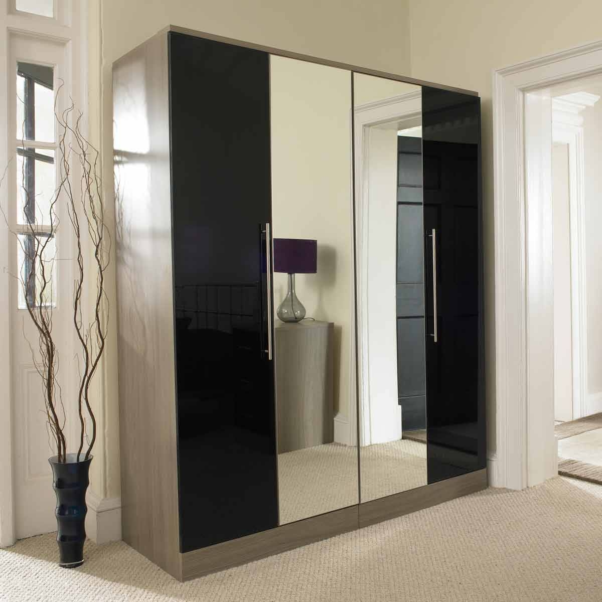 Black Wardrobe With Mirror, Black Wardrobes Woodys Furniture regarding Black Wardrobes With Mirror (Image 4 of 15)