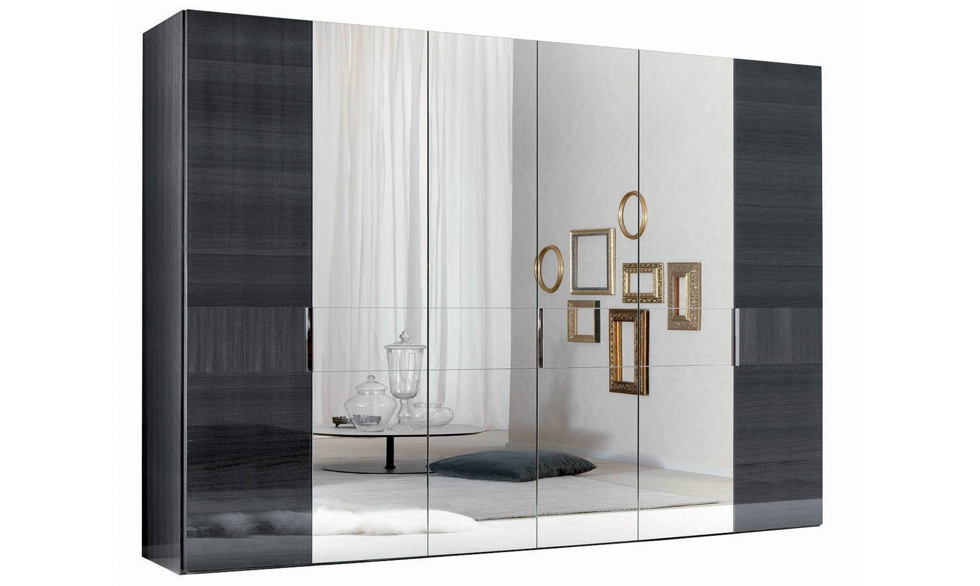 Black Wardrobe With Mirror, Grill Lynx Door Drawer Wardrobe With inside White Gloss Mirrored Wardrobes (Image 1 of 15)
