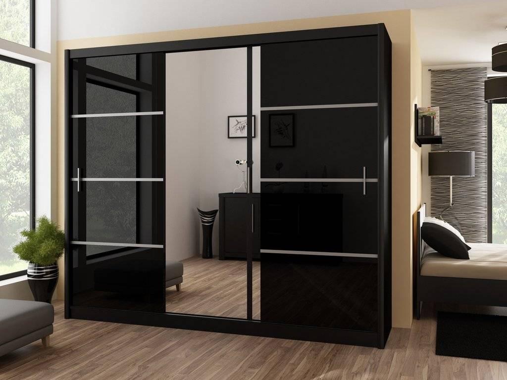 Black Wardrobe With Mirror, Instrument Vista Sliding Door Wardrobe in Black Gloss Mirror Wardrobes (Image 5 of 15)
