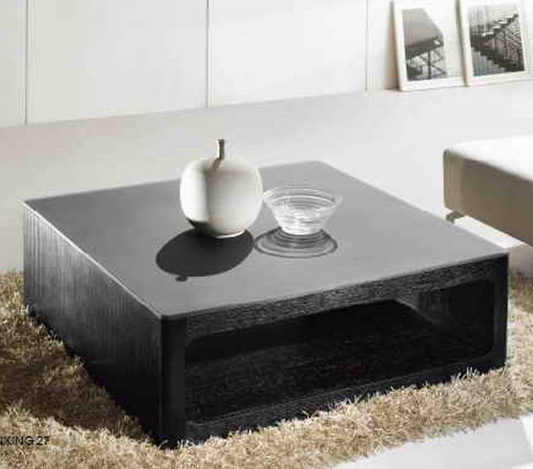 Black Wood Coffee Table In The Modern Design — Coffee Tables Ideas within Square Stone Coffee Tables (Image 2 of 30)