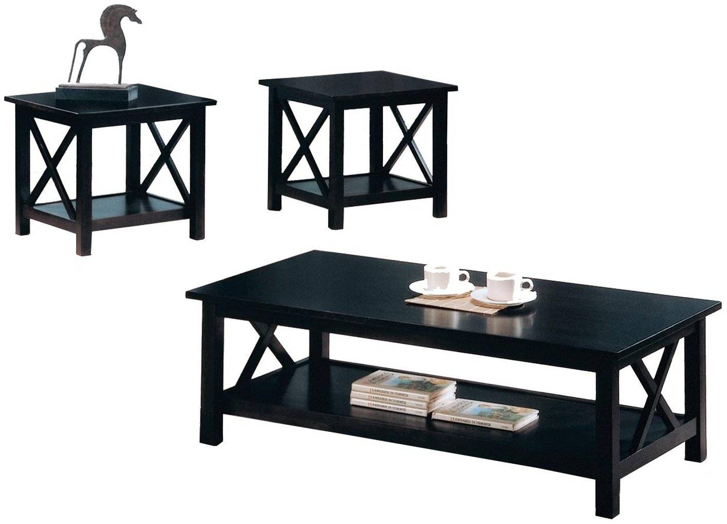 Black Wood Coffee Table Set - Steal-A-Sofa Furniture Outlet Los regarding Black Wood Coffee Tables (Image 3 of 30)