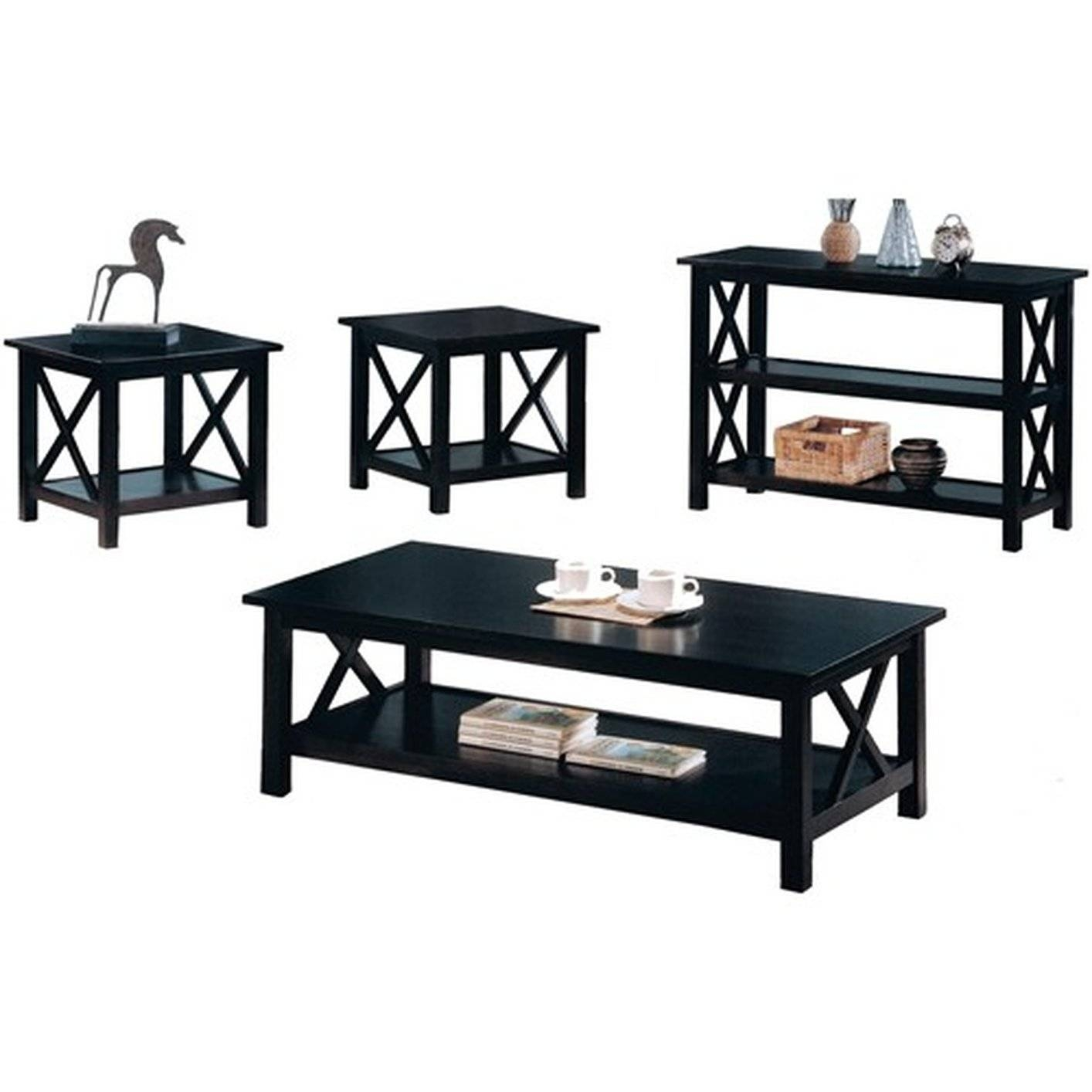 Black Wood Coffee Table Set - Steal-A-Sofa Furniture Outlet Los with regard to Black Wood Coffee Tables (Image 5 of 30)