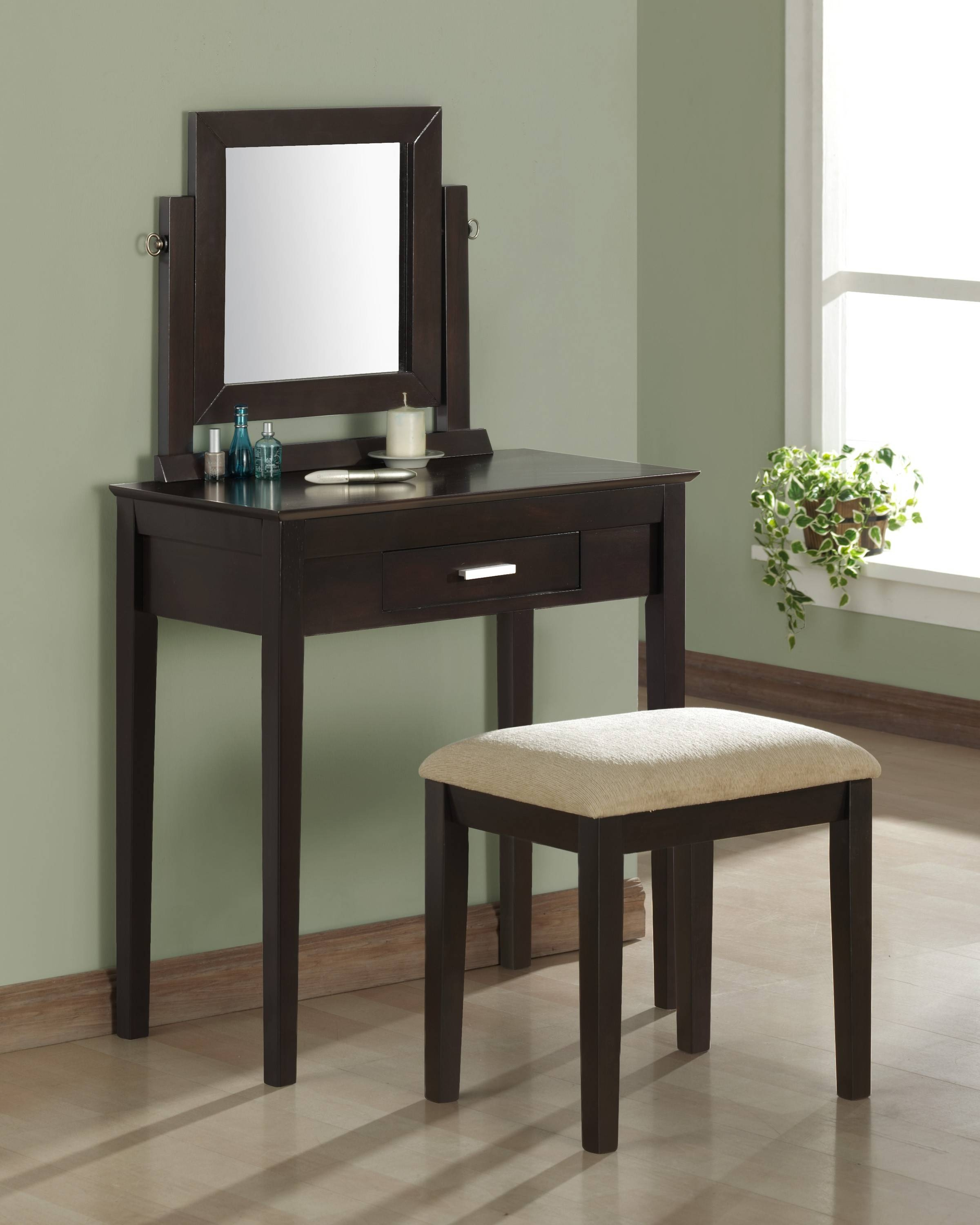 Black Wooden Makeup Vanity With Single Drawer Combined With Square for Long Brown Mirrors (Image 10 of 25)